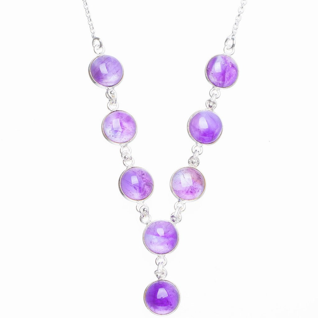 Natural Amethyst Handmade Unique 925 Sterling Silver Necklace 17+0.75