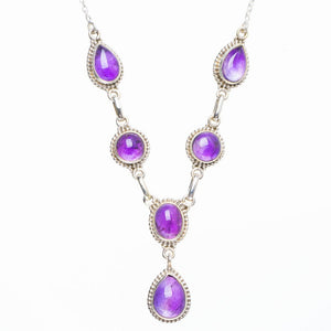 "Natural Amethyst Handmade Unique 925 Sterling Silver Necklace 19+1.5"" Y5508"