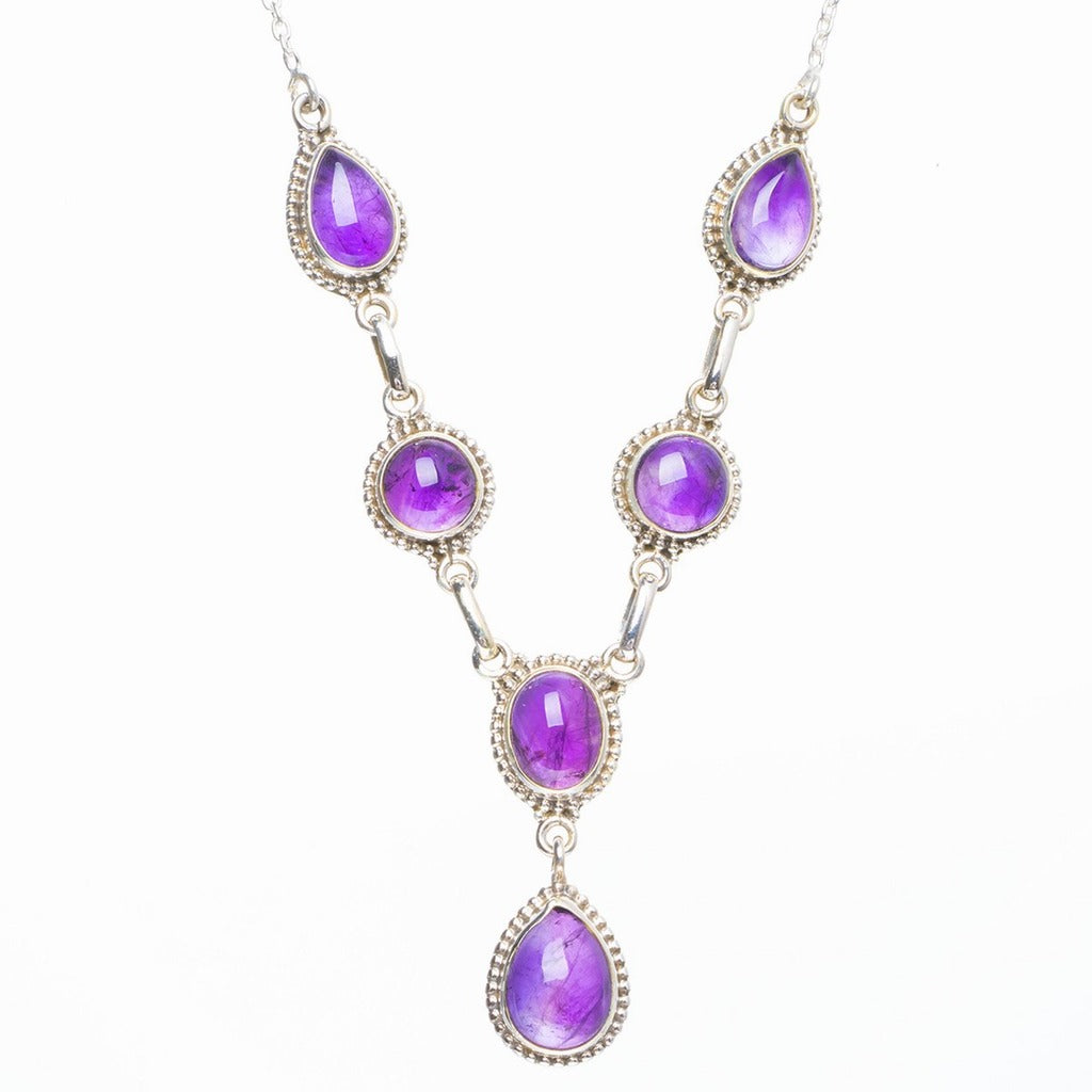 Natural Amethyst Handmade Unique 925 Sterling Silver Necklace 19+1.5