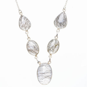 "Natural Tourmalinated Quartz Handmade Unique 925 Sterling Silver Necklace 20.5+1"" Y5509"