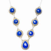 "Natural Lapis Lazuli Handmade Unique 925 Sterling Silver Necklace 18+2"" Y5513"