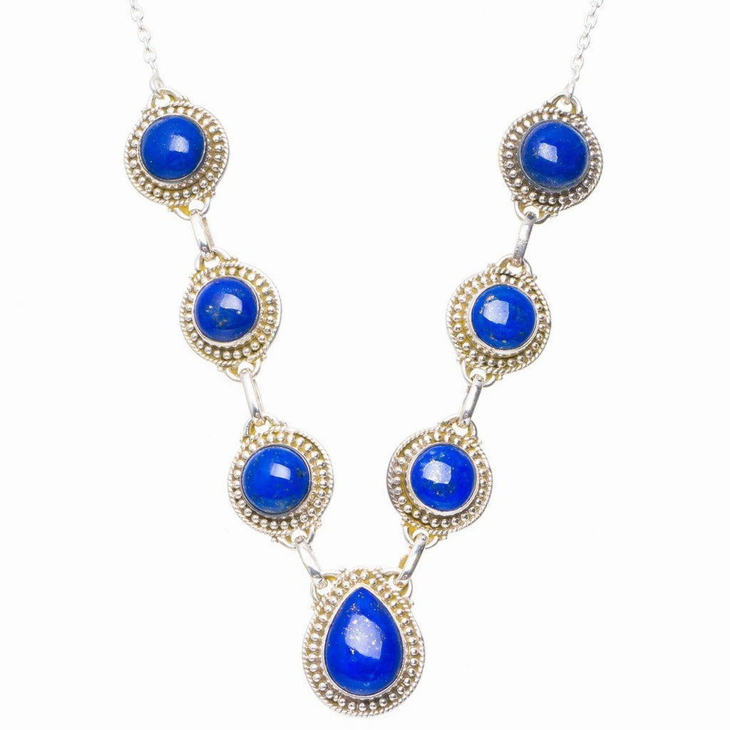 Natural Lapis Lazuli Handmade Unique 925 Sterling Silver Necklace 18+2