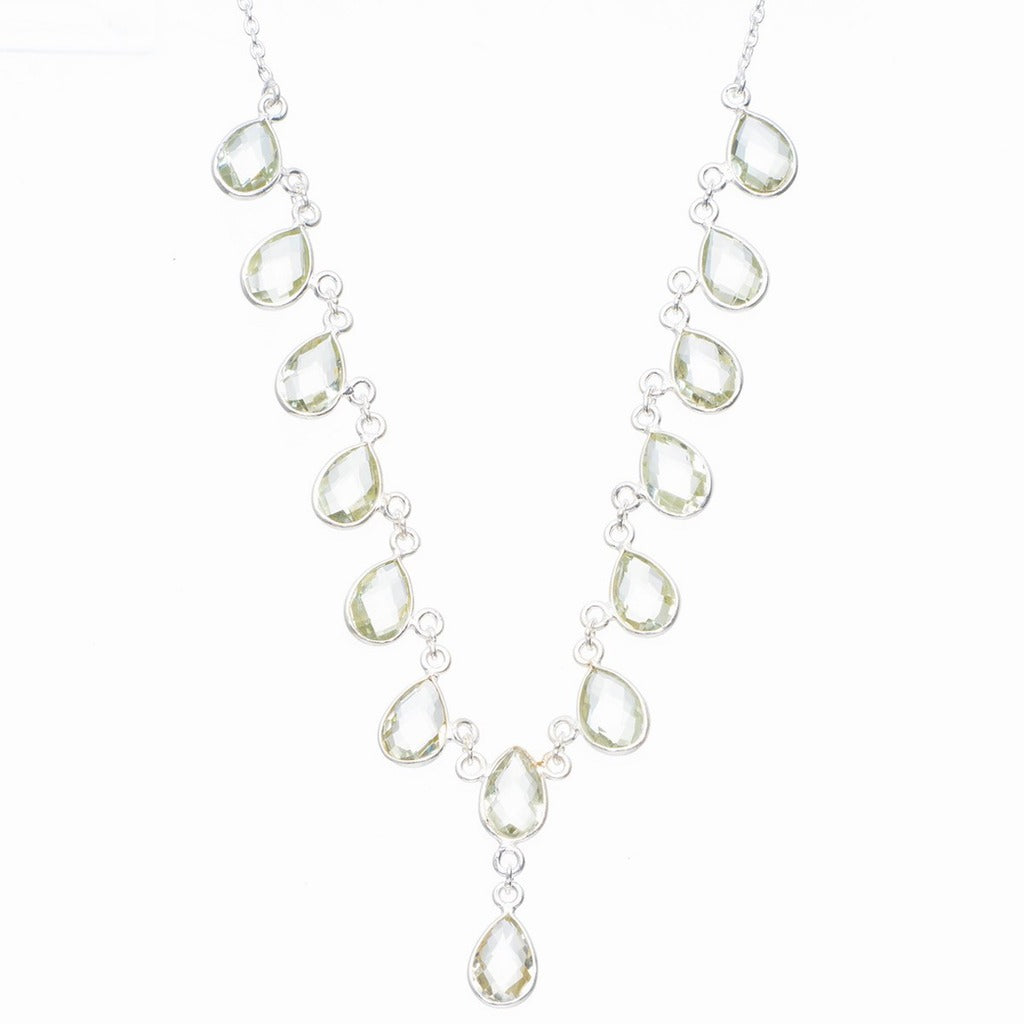 Natural Green Amethyst Handmade Unique 925 Sterling Silver Necklace 16.5+1
