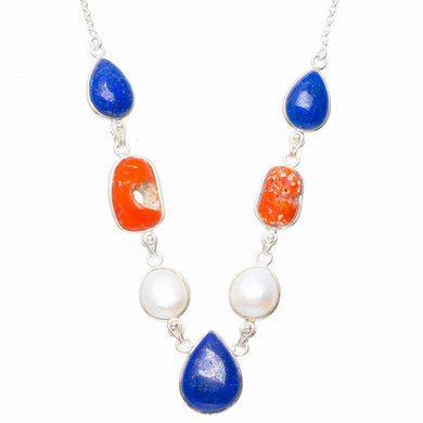Natural Red Coral,Lapis Lazuli and River Pearl 925 Sterling Silver Necklace 16.5+1.75
