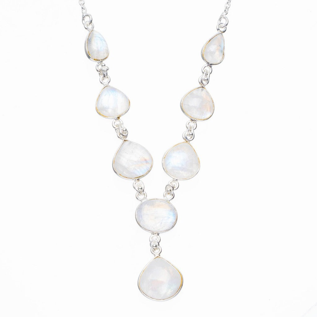 Natural Rainbow Moonstone Handmade Unique 925 Sterling Silver Necklace 17.5+0.75