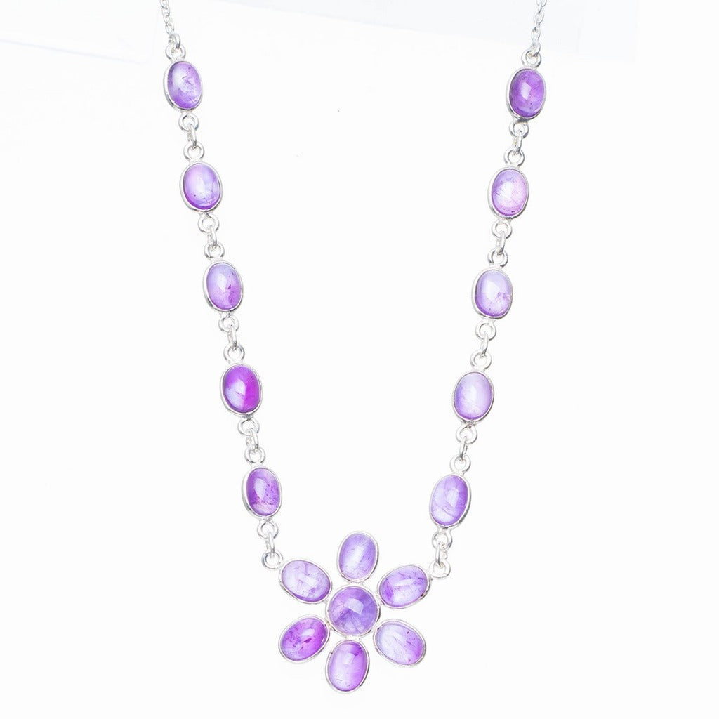 Natural Amethyst Handmade Unique 925 Sterling Silver Necklace 16.5+1.25