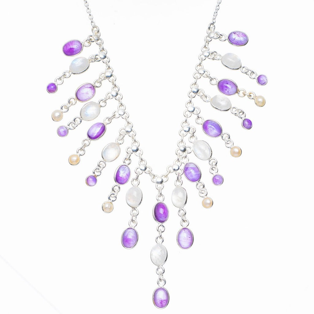 Natural Rainbow Moonstone,Amethyst and River Pearl 925 Sterling Silver Necklace 16+1.75