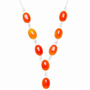 "Natural Carnelian Handmade Unique 925 Sterling Silver Necklace 18.5+0.75"" Y5573"