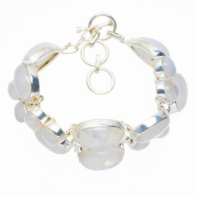Huge Natural Rainbow Moonstone Handmade Unique 925 Sterling Silver Bracelet 6.5-7.75
