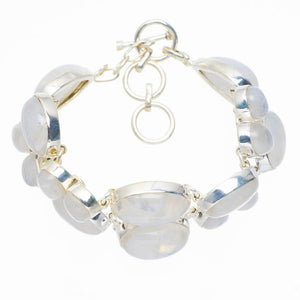"Huge Natural Rainbow Moonstone Handmade Unique 925 Sterling Silver Bracelet 6.5-7.75"" Y5577"