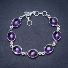 "Natural Amethyst Handmade Unique 925 Sterling Silver Bracelet 7 1/4-8"" Y0029"