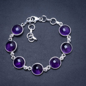 "Natural Amethyst Handmade Unique 925 Sterling Silver Bracelet 7-8 1/4"" Y0036"