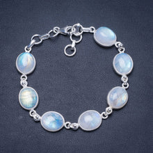 "Natural Rainbow Moonstone Handmade Unique 925 Sterling Silver Bracelet 7 1/4-8"" Y0037"