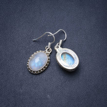 "Natural Rainbow Moonstone Handmade Unique 925 Sterling Silver Earrings 1.25"" Y0151"