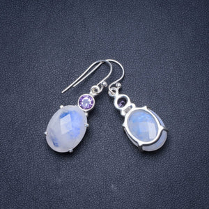 "Natural Rainbow Moonstone and Amethyst Handmade Unique 925 Sterling Silver Earrings 1.5"" Y0155"