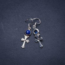 "Natural Lapis Lazuli Handmade Unique 925 Sterling Silver Earrings 1.5"" Y0276"