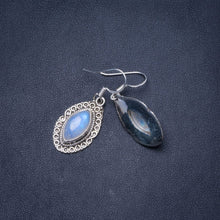 "Natural Rainbow Moonstone Handmade Unique 925 Sterling Silver Earrings 1.5"" Y0314"
