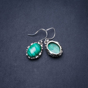 "Natural Malachite Handmade Unique 925 Sterling Silver Earrings 1.25"" Y0359"