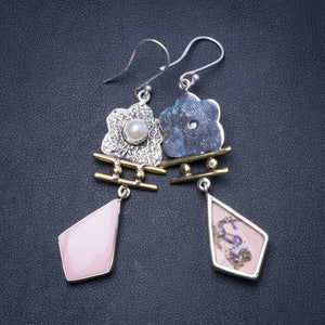 "Natural Two Tones Pink Spotted Jasper and River Pearl 925 Sterling Silver Earrings 2.5"" Y0366"