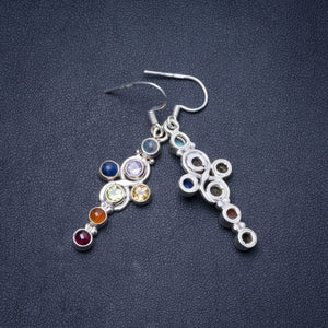 "Natural Carnelian,Peridot,Citrine,Lapis Lazuli,Amethyst and Moonstone 925 Silver Earrings 2"" Y0374"