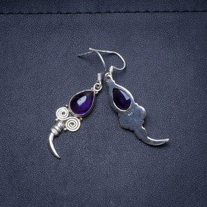 "Natural Amethyst Handmade Unique 925 Sterling Silver Earrings 1.75"" Y0404"