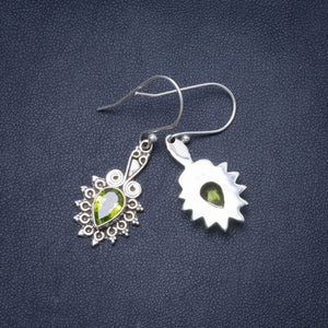"Natural Peridot Handmade Unique 925 Sterling Silver Earrings 1.5"" Y0439"