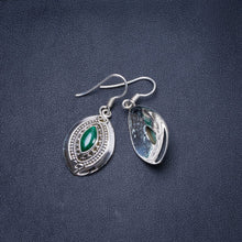 "Natural Malachite Handmade Unique 925 Sterling Silver Earrings 1.25"" Y0447"