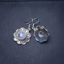 "Natural Rainbow Moonstone Handmade Unique 925 Sterling Silver Earrings 1.25"" Y0453"