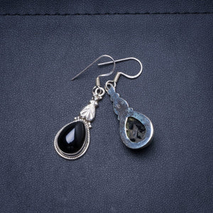 "Natural Black Onyx Handmade Unique 925 Sterling Silver Earrings 1.5"" Y0470"