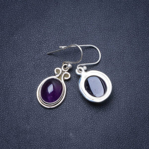 "Natural Amethyst Handmade Unique 925 Sterling Silver Earrings 1.25"" Y0493"