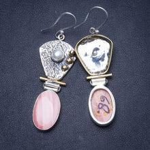 "Natural Two Tones Pink Spotted Jasper and River Pearl Handmade 925 Sterling Silver Earrings 2.25"" Y0538"