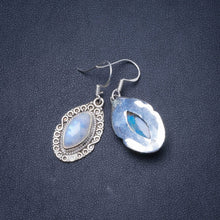 "Natural Rainbow Moonstone Handmade Unique 925 Sterling Silver Earrings 1.5"" Y0573"