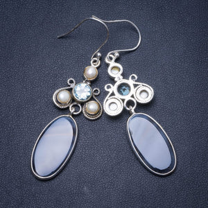 "Natural Botswana Agate,River Pearl and Blue Topaz Handmade Unique 925 Sterling Silver Earrings 2.5"" Y0577"