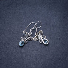 "Natural Blue Topaz Handmade Unique 925 Sterling Silver Earrings 1"" Y0656"