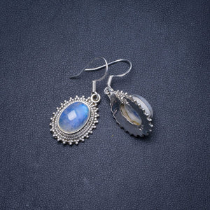 "Natural Rainbow Moonstone Handmade Unique 925 Sterling Silver Earrings 1.25"" Y0665"