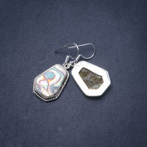 "Natural Abalone Shell Handmade Unique 925 Sterling Silver Earrings 1.25"" Y0683"
