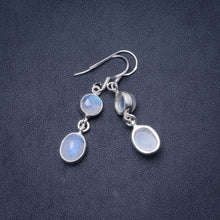 "Natural Rainbow Moonstone Handmade Unique 925 Sterling Silver Earrings 1.75"" Y0708"