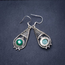 "Natural Malachite Handmade Unique 925 Sterling Silver Earrings 1.75"" Y0771"