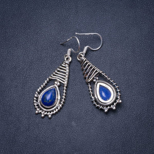 "Natural Lapis Lazuli Handmade Unique 925 Sterling Silver Earrings 1.75"" Y0795"