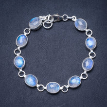 "Natural Rainbow Moonstone Handmade Unique 925 Sterling Silver Bracelet 7 1/4-7 3/4"" Y0839"