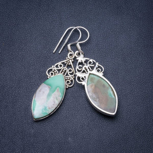 "Natural Australian Chrysoprase Handmade Unique 925 Sterling Silver Earrings 2"" Y0925"