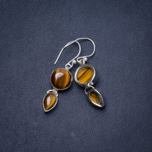 "Natural Tiger Eye Handmade Unique 925 Sterling Silver Earrings 1.5"" Y0944"