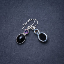 "Natural Black Onyx and Mystical Topaz Handmade Unique 925 Sterling Silver Earrings 1.25"" Y0947"