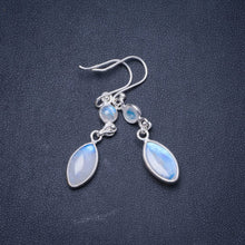 "Natural Rainbow Moonstone Handmade Unique 925 Sterling Silver Earrings 2"" Y0952"