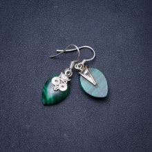 "Natural Malachite Handmade Unique 925 Sterling Silver Earrings 1.75"" Y0955"