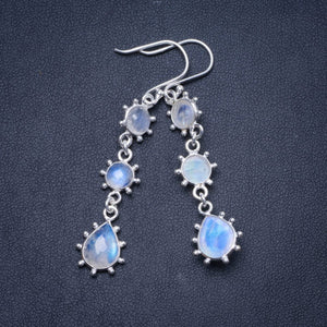 "Natural Rainbow Moonstone Handmade Unique 925 Sterling Silver Earrings 2.25"" Y0964"
