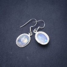 "Natural Rainbow Moonstone Handmade Unique 925 Sterling Silver Earrings 1.25"" Y0995"