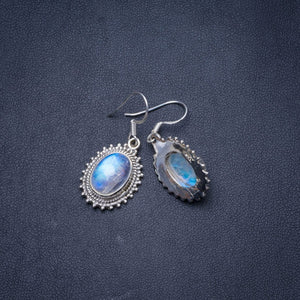 "Natural Rainbow Moonstone Handmade Unique 925 Sterling Silver Earrings 1.25"" Y1059"