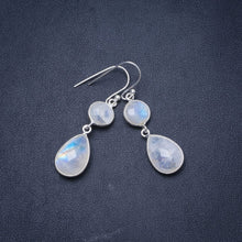 "Natural Rainbow Moonstone Handmade Unique 925 Sterling Silver Earrings 1.5"" Y1073"