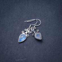 "Natural Rainbow Moonstone Handmade Unique 925 Sterling Silver Earrings 1.25"" Y1105"